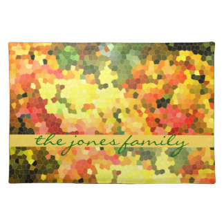 Stained Glass Abstract Autumn Maple Leaves Orange Place Mat