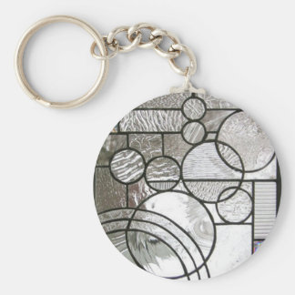 Stained Glass  Abstract Circle square clear Key Ring