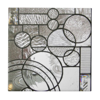 Stained Glass  Abstract Circle square clear Tile