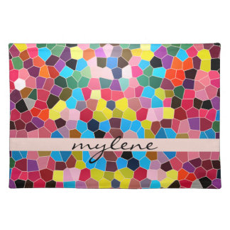 Stained Glass Abstract Vivid Rainbow Candy Mosaic Placemats