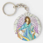 Stained Glass Angel Basic Round Button Key Ring