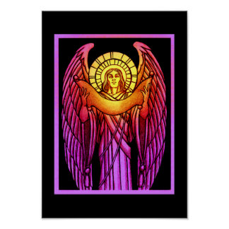 Stained Glass Angel Poster