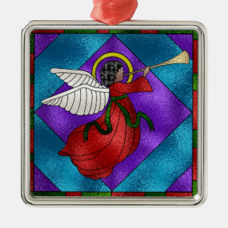 Stained Glass Angel Silver-Colored Square Decoration