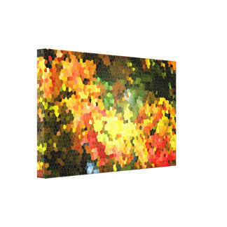 Stained Glass Autumn Maple Leaves Orange Yellow Stretched Canvas Prints