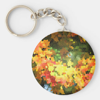 Stained Glass Autumn Maple Leaves Orange Yellow Key Ring