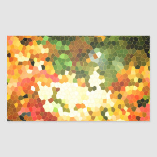 Stained Glass Autumn Maple Leaves Orange Yellow Rectangular Sticker