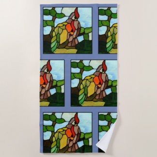 Stained Glass Birds Beach Towel