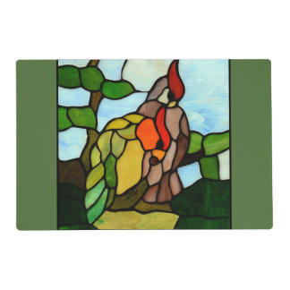 Stained Glass Birds Laminated Placemat