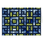 STAINED GLASS BLUE & GREEN GREETING CARD