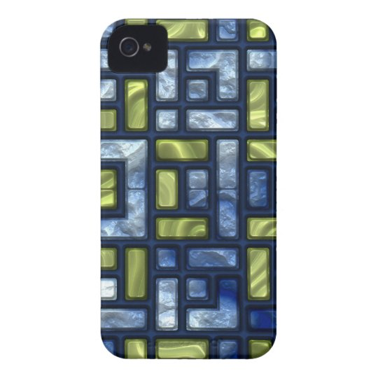 STAINED GLASS BLUE & GREEN iPhone 4 Case-Mate Case