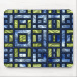STAINED GLASS BLUE & GREEN MOUSE PAD