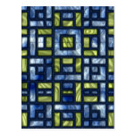 STAINED GLASS BLUE & GREEN POSTCARD