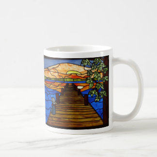 Stained Glass Boy Fishing Coffee Mug