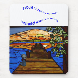 Stained Glass Boy Fishing Mouse Mat