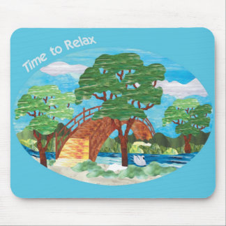 Stained Glass Bridge Over Calm Waters Mouse Pad