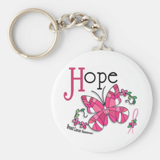 Stained Glass Butterfly 1 Breast Cancer Basic Round Button Key Ring