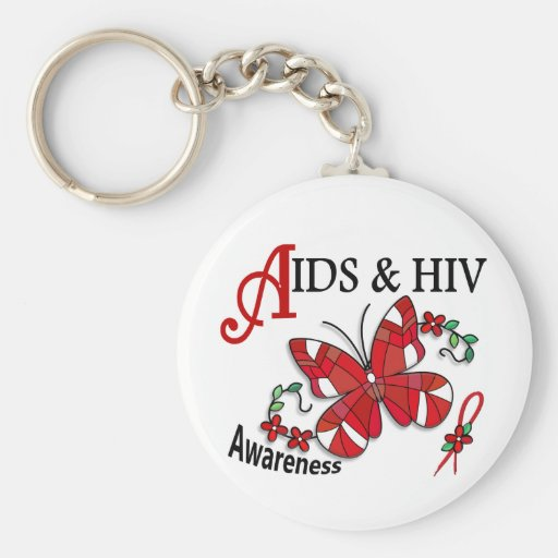 Stained Glass Butterfly 2 AIDS Keychain