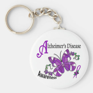 Stained Glass Butterfly 2 Alzheimer's Basic Round Button Key Ring