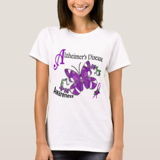Stained Glass Butterfly 2 Alzheimer's T-Shirt
