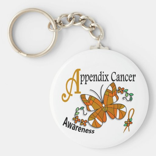Stained Glass Butterfly 2 Appendix Cancer Keychain