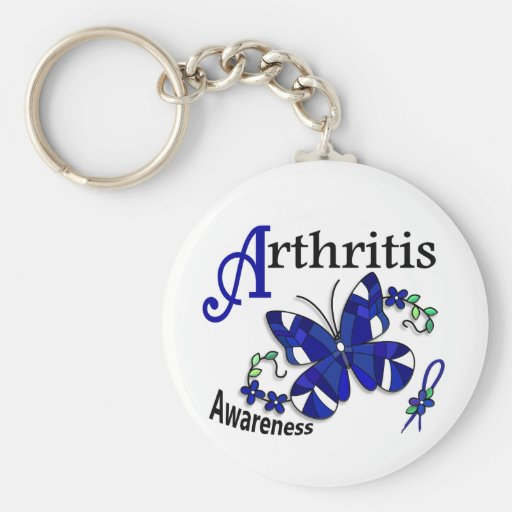 Stained Glass Butterfly 2 Arthritis Keychains