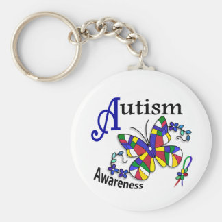 Stained Glass Butterfly 2 Autism Basic Round Button Key Ring