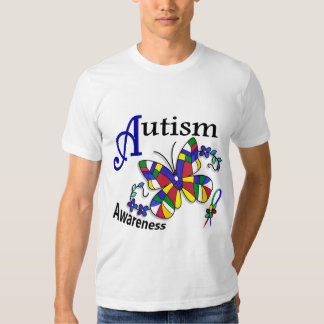 Stained Glass Butterfly 2 Autism T-shirts