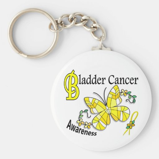 Stained Glass Butterfly 2 Bladder Cancer Keychain