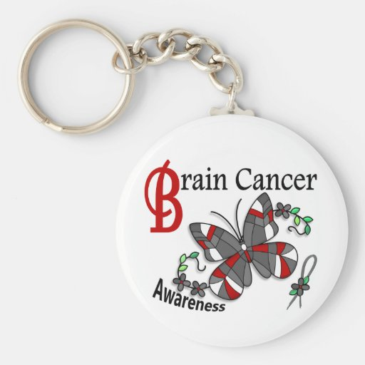 Stained Glass Butterfly 2 Brain Cancer Key Chains