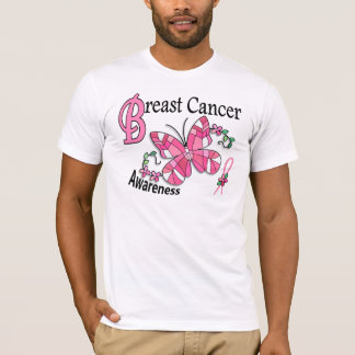 Stained Glass Butterfly 2 Breast Cancer T-Shirt