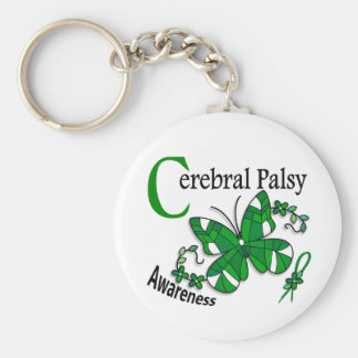 Stained Glass Butterfly 2 Cerebral Palsy Basic Round Button Key Ring