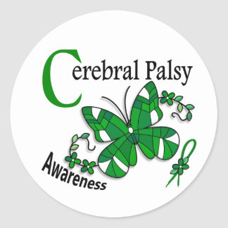 Stained Glass Butterfly 2 Cerebral Palsy Round Sticker