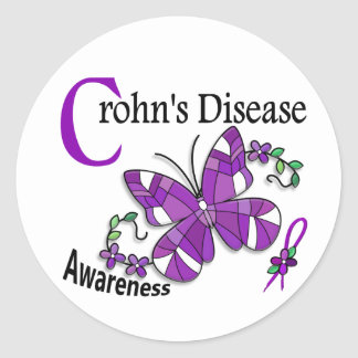 Stained Glass Butterfly 2 Crohn's Disease Stickers