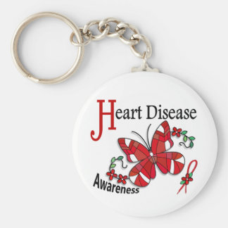 Stained Glass Butterfly 2 Heart Disease Keychains