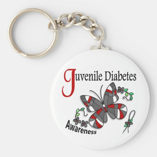 Stained Glass Butterfly 2 Juvenile Diabetes Keychain