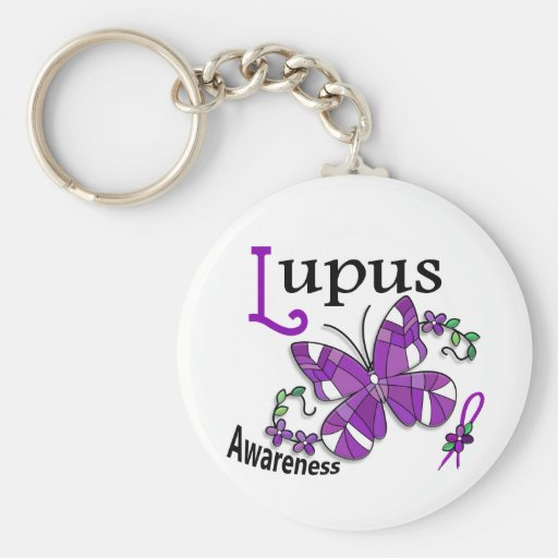 Stained Glass Butterfly 2 Lupus Keychain