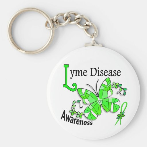 Stained Glass Butterfly 2 Lyme Disease Key Chains