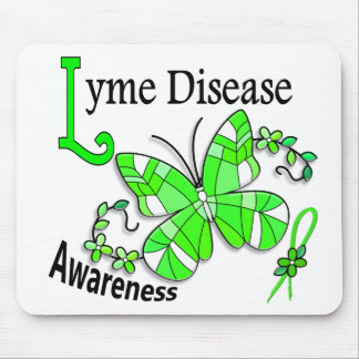 Stained Glass Butterfly 2 Lyme Disease Mousepad