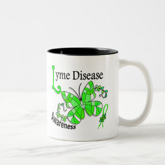 Stained Glass Butterfly 2 Lyme Disease Two-Tone Mug