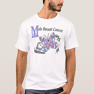 Stained Glass Butterfly 2 Male Breast Cancer T-Shirt