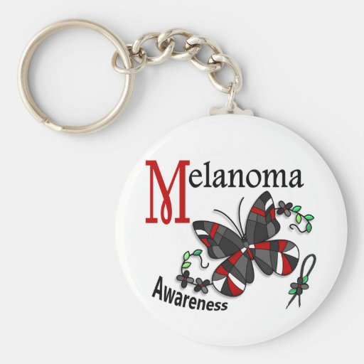 Stained Glass Butterfly 2 Melanoma Key Chains