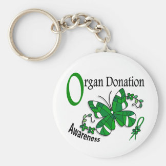 Stained Glass Butterfly 2 Organ Donation Basic Round Button Key Ring