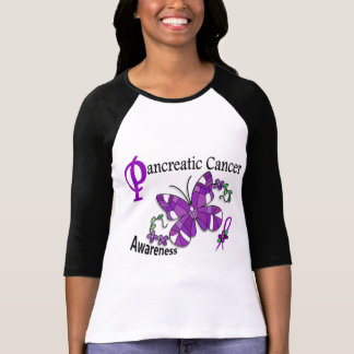 Stained Glass Butterfly 2 Pancreatic Cancer Tee Shirt