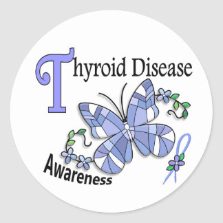 Stained Glass Butterfly 2 Thyroid Disease Classic Round Sticker