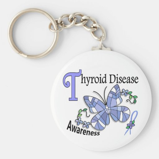 Stained Glass Butterfly 2 Thyroid Disease Key Chains