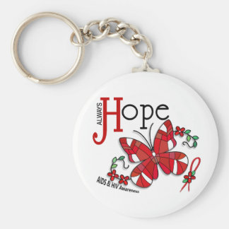 Stained Glass Butterfly AIDS Basic Round Button Key Ring