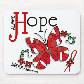 Stained Glass Butterfly AIDS Mousepads