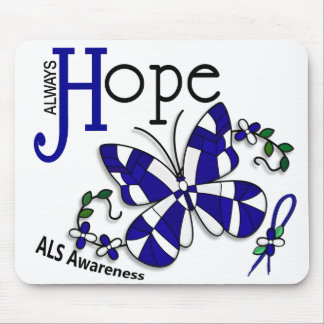 Stained Glass Butterfly ALS Mouse Pad