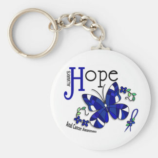 Stained Glass Butterfly Anal Cancer Basic Round Button Key Ring