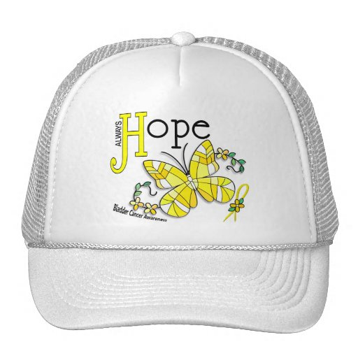 Stained Glass Butterfly Bladder Cancer Trucker Hats